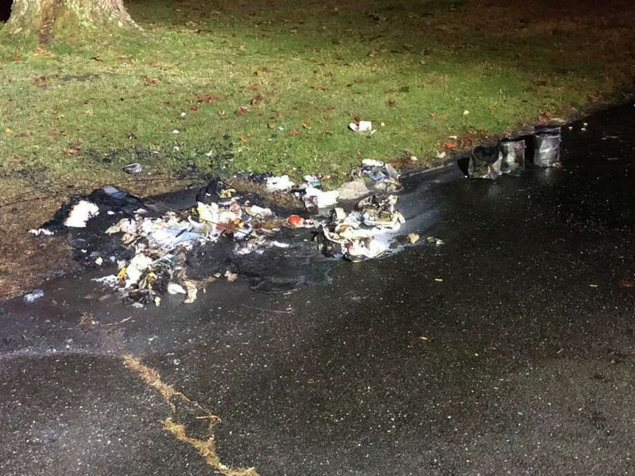 Monroe firefighters responded to a trash can fire around 2 a.m. Nov. 12, 2019. Photo: Monroe Volunteer Fire Department / Contributed
