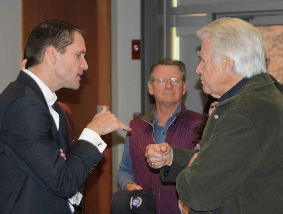Congressman Jim Himes speaks to Ridgefield resident Chuck Hancock. Photo: Macklin Reid / Hearst Connecticut Media