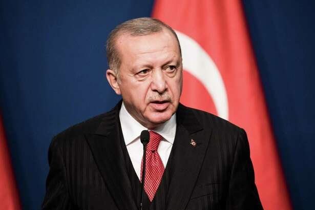 Recep Tayyip Erdoan, president of Turkey, at a press conference in Budapest, Hungary on Nov. 7, 2019.
