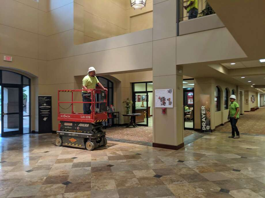 The main hall of The Woodlands United Methodist Church will eventually be renovated with new paint and carpet as part of the larger $30 million capital project. The main worship area will need to be updated with a sprinkler system and may be seeing other renovations too. Photo: Jamie Swinnerton