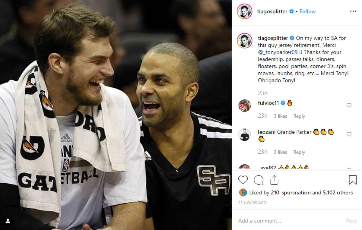 """@tiagosplitter: """"On my way to SA for this guy jersey retirement! Merci @_tonyparker09 !! Thanks for your leadership, passes,talks, dinners, floaters, pool parties, corner 3's, spin moves, laughs, ring, etc.... Merci Tony! Obrigado Tony!"""""""