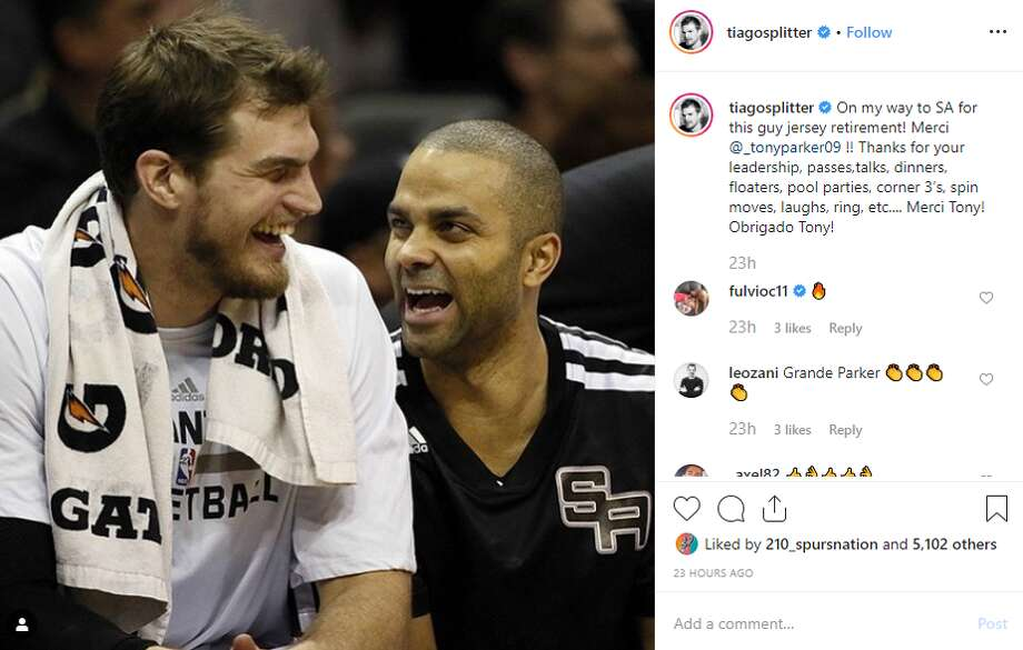 "@tiagosplitter: ""On my way to SA for this guy jersey retirement! Merci @_tonyparker09 !! Thanks for your leadership, passes,talks, dinners, floaters, pool parties, corner 3's, spin moves, laughs, ring, etc.... Merci Tony! Obrigado Tony!"" Photo: Instagram Screengrab"