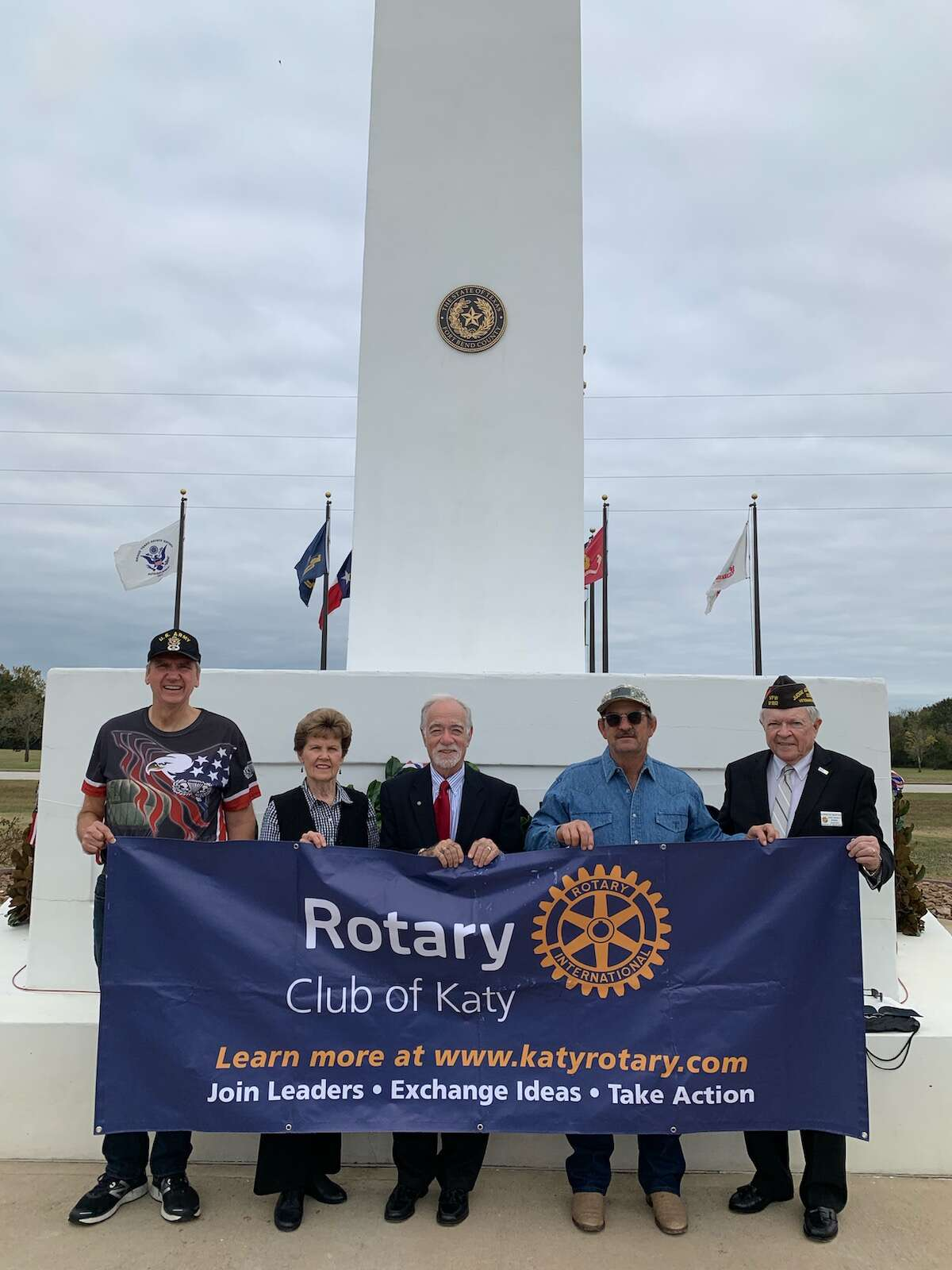The Rotary Club of Katy and Katy Veterans of Foreign Wars Post 9182 observed Veterans Day on Nov. 11 at Armed Forces Memorial Tower in Fort Bend County Freedom Park. Rotarians participating included, from left: George Yeiter, Beverly Yeiter, David Frishman, Jeff Pantle, the tower general contractor; and Ken Burton.