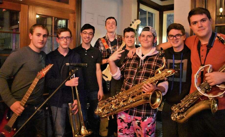 Robust 7 band mates and Ridgefield High School students, from left to right: Nico Mantione (senior, guitar); Dmitri Volkov (junior, trombone), Aidan Flaherty (junior, keyboard); Ryan Sierakowski (senior, bass), Kellan Barrett (senior, drums), Frank Bua (senior, bari sax), Spencer Carlson (junior, trumpet), Brendan DiMiceli (junior, tenor sax). Photo: Lisa Bua / Contributed Photo