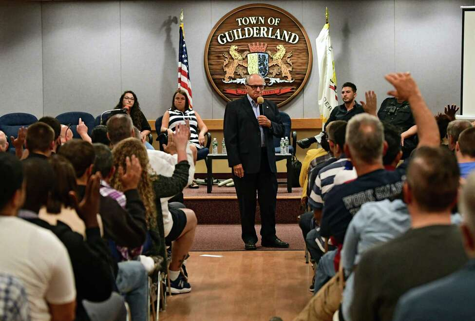 Moderator Sam Messina, center, asks a hand-raising question to DWI offenders during a Stop DWI Victim Impact Panel at Guilderland Town Hall on Tuesday, Sept. 24, 2019 in Guilderland, N.Y. The program was offered in hope of showing them the possible consequences of their actions. (Lori Van Buren/Times Union)
