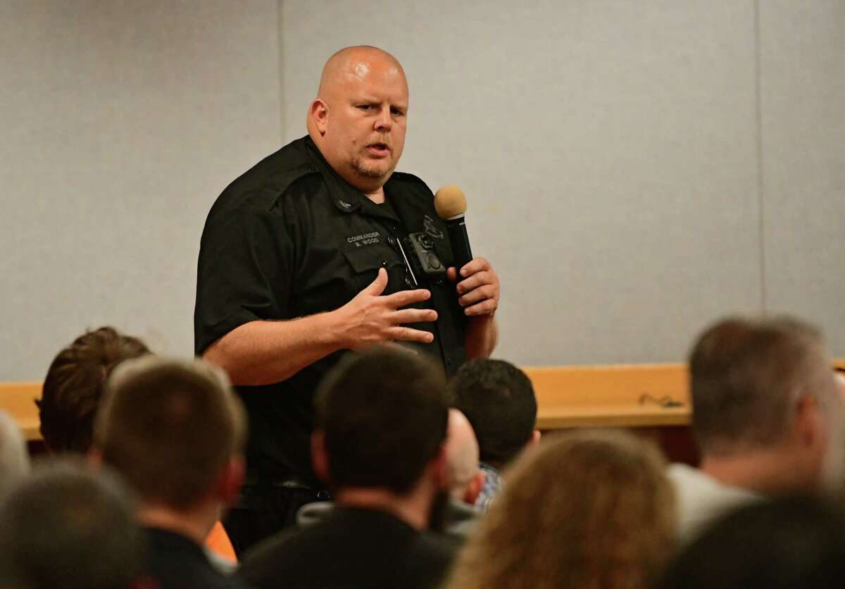 Brian Wood, commander of emergency planning unit, speaks during a Stop DWI program Victim Impact Panel at Guilderland Town Hall on Tuesday, Sept. 24, 2019 in Guilderland, N.Y. The program was offered in hope of showing them the possible consequences of their actions. (Lori Van Buren/Times Union)