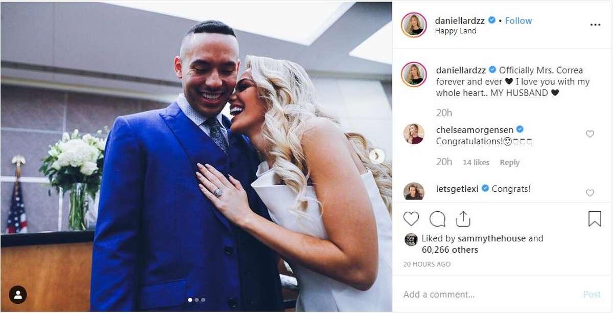 Astros shortshop Carlos Correa and former Miss Texas Daniella Rodriguez, who hails from Laredo, shared their wedding ceremony on Instagram.