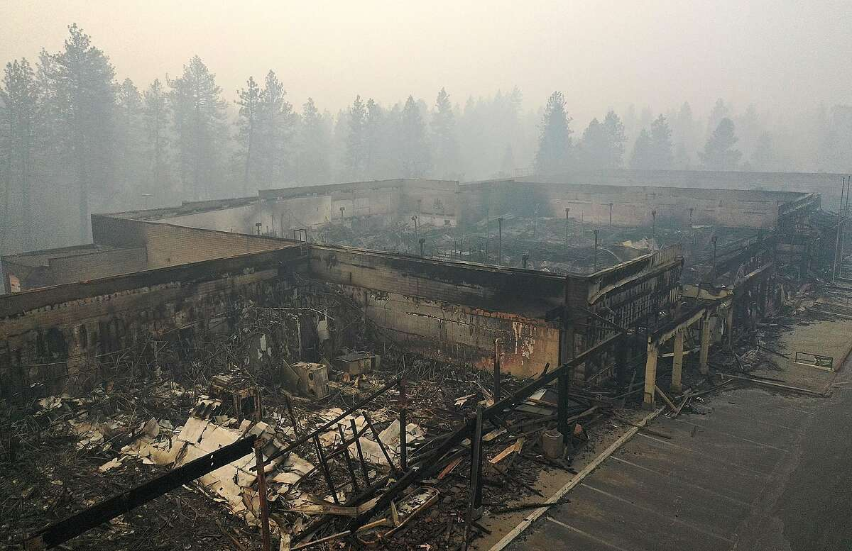 An aerial view of a shopping center destroyed by the Camp Fire on Nov. 15, 2018, in Paradise, Calif.