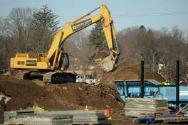 Construction is underway on the new Harding High School at the site of the old General Electric factory on Bond Street in Bridgeport, Conn. on Thursday, February 16, 2017.