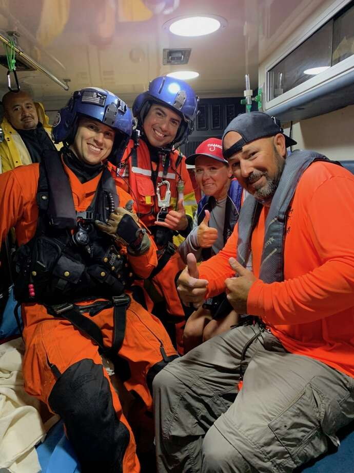 Members of the Coast Guard rescued two kayakers who got stranded on Grass Island, near Rockport, on Monday night. Photo: U.S. Coast Guard District 8