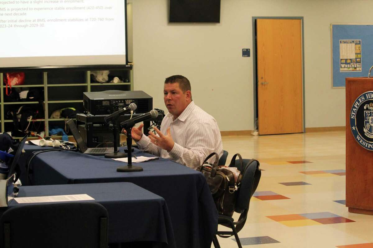 Mike Zuba, of Milone and Macbroom, spoke at the Board of Education's meeting on Monday. Taken Nov. 11, 2019 in Westport, Conn.