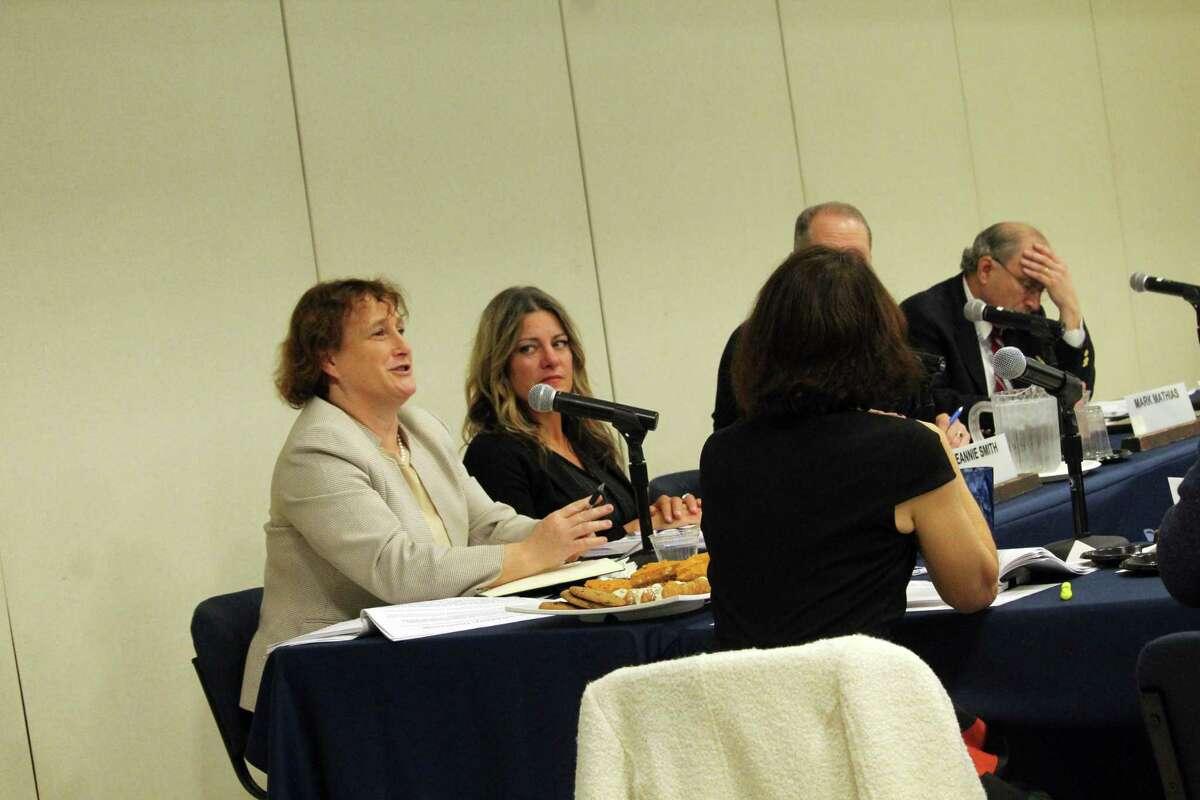 BOE member Elaine Whitney speaks at the BOE meeting on Monday. Taken Nov. 11, 2019 in Westport, Conn.