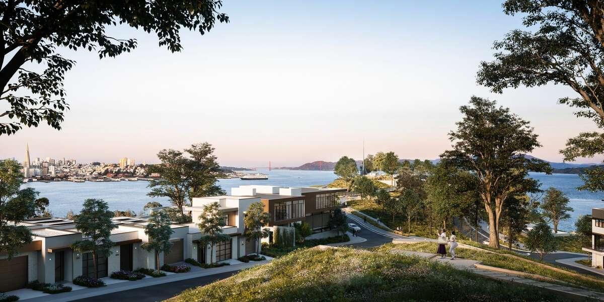A rendering of a new housing development under construction on Yerba Buena Island in San Francisco Bay shows a view from what will be Hilltop Park