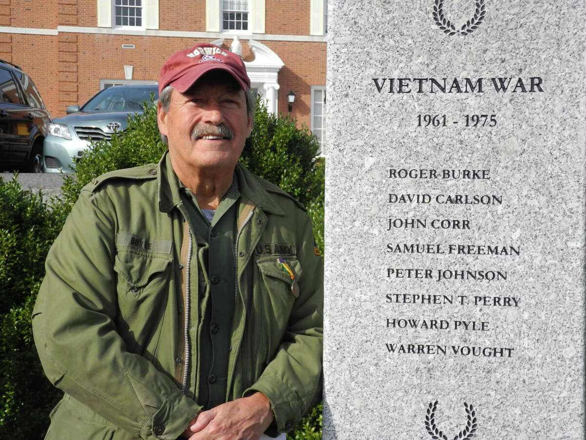 Dan Boyle is a Wilton veteran who received a Purple Heart for his injuries during the Vietnam War. He attended the Veterans Day ceremony at the Veterans Memorial Green on Nov. 11.