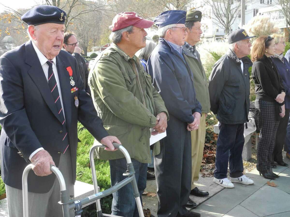 Veterans at Wilton's Veterans Day ceremony are, from left, Trygve Hansen, Dan Boyle, Bill Brennan, Jim Newton and Jack Majesky. Also attending were state Rep. Gail Lavielle and First Selectwoman Lynne Vanderslice.