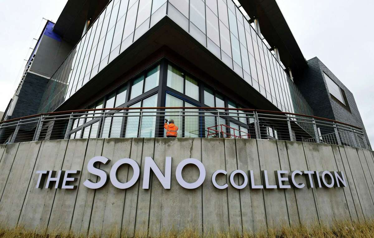The SoNo Collection mamm Tuesday, November 12, 2019, in Norwalk, Conn. A construction worker fell to his death while working at the SoNo Collection early Tuesday morning.