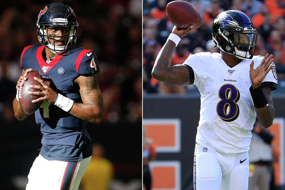 The Texans' Deshaun Watson (left) and Ravens' Lamar Jackson, two of the NFL's best young QBs, will face off as pros for the first time Sunday in Baltimore.