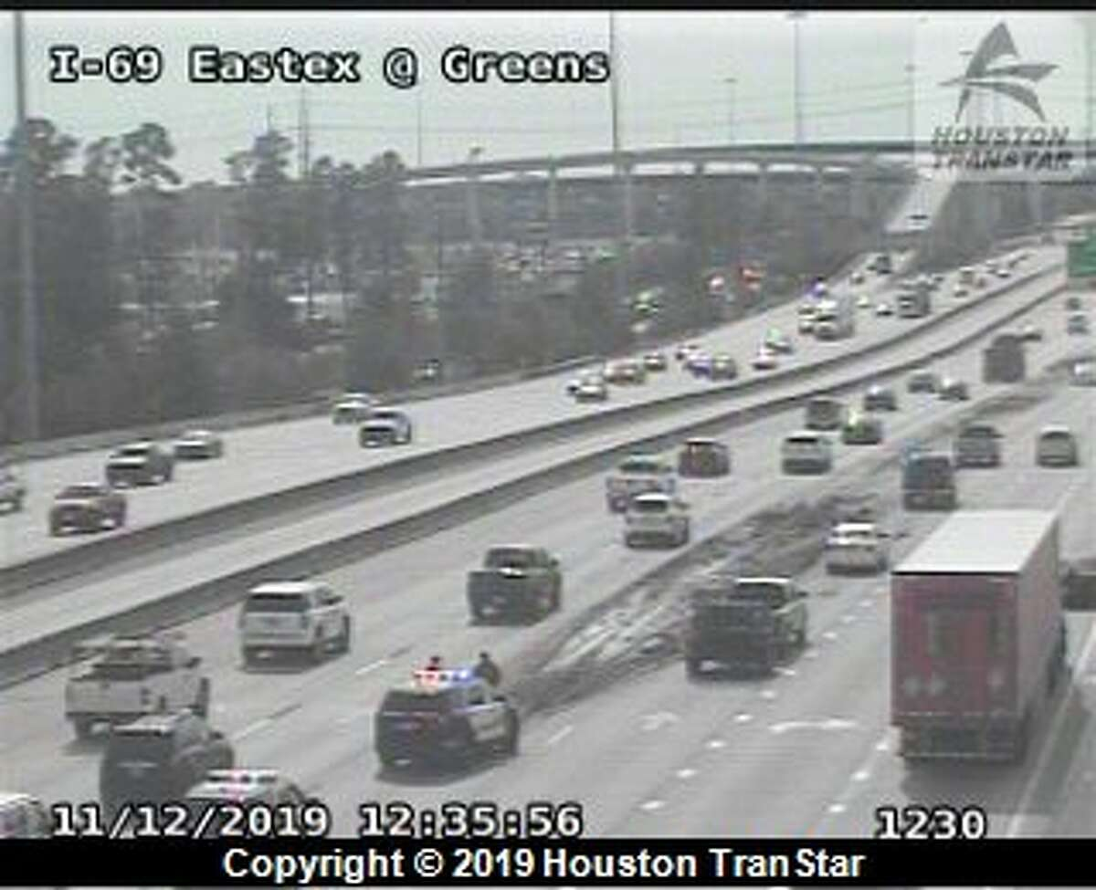 Houston police have several southbound lanes of U.S. 59 shut down at Green Road for a lost load on Tuesday, Nov. 12, 2019.