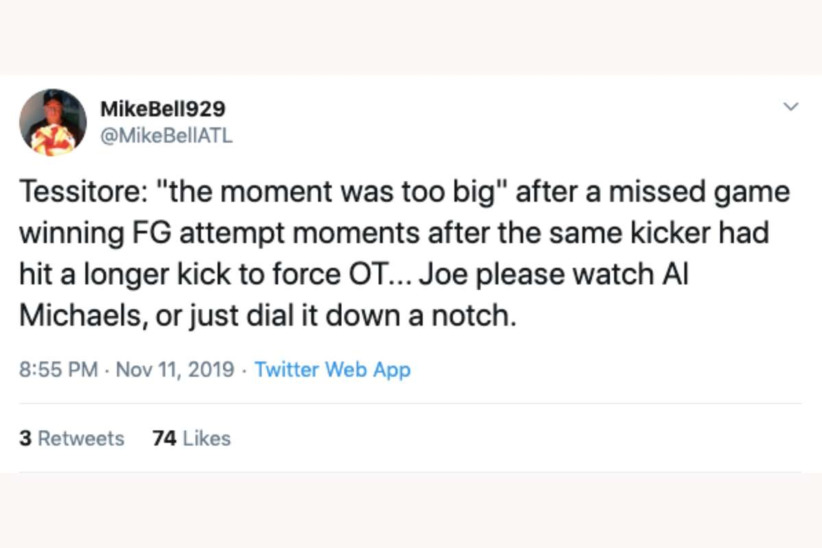 ESPN's Joe Tessitore faced criticism after saying the