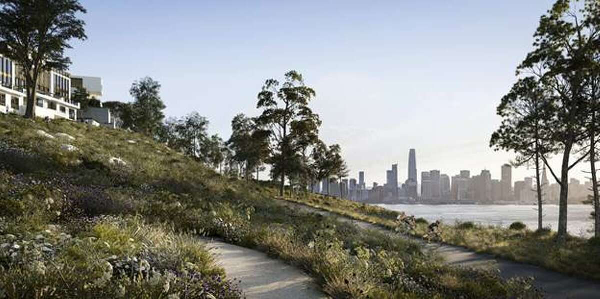 A rendering of a new housing development under construction on Yerba Buena Island in San Francisco Bay shows a trail designed by CMG Architects.