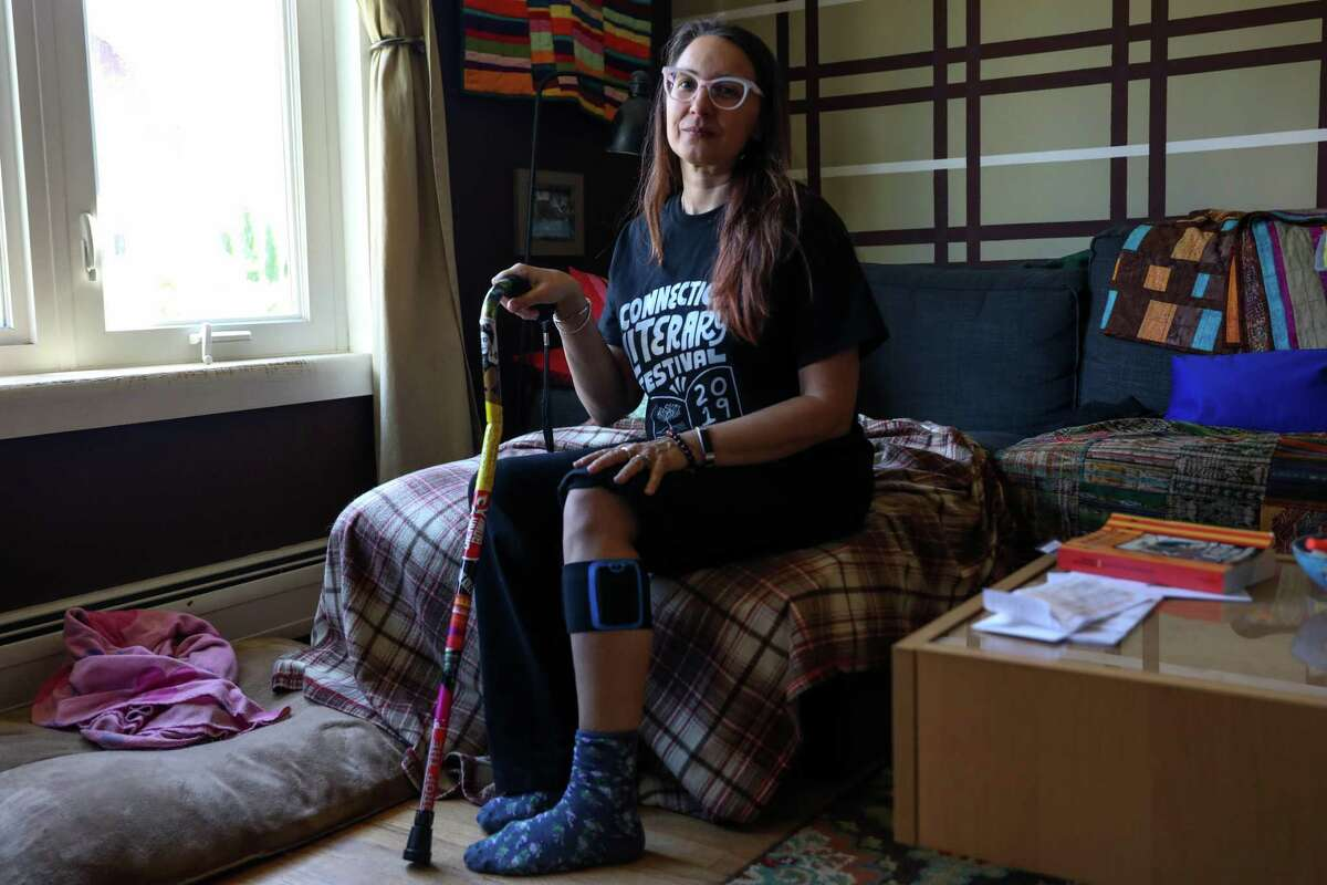 Sonya Huber, 48, suffers from rheumatoid arthritis. She says on some days she needs a cane to help her walk because of the pain in her joints.