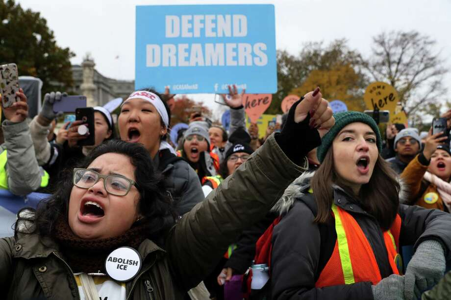 Hundreds of people gather outside the U.S. Supreme Court to rally in support of the Deferred Action on Childhood Arrivals program as the court hears arguments about DACA November 12, 2019 in Washington, DC. The court heard arguments in the case that tests the legality of the DACA program, a federal immigration policy that has given protection from deportation to 700,000 people brought to the U.S. as children. The Trump Administration announced the end of the program in 2017. Photo: Chip Somodevilla / Getty / 2019 Getty Images