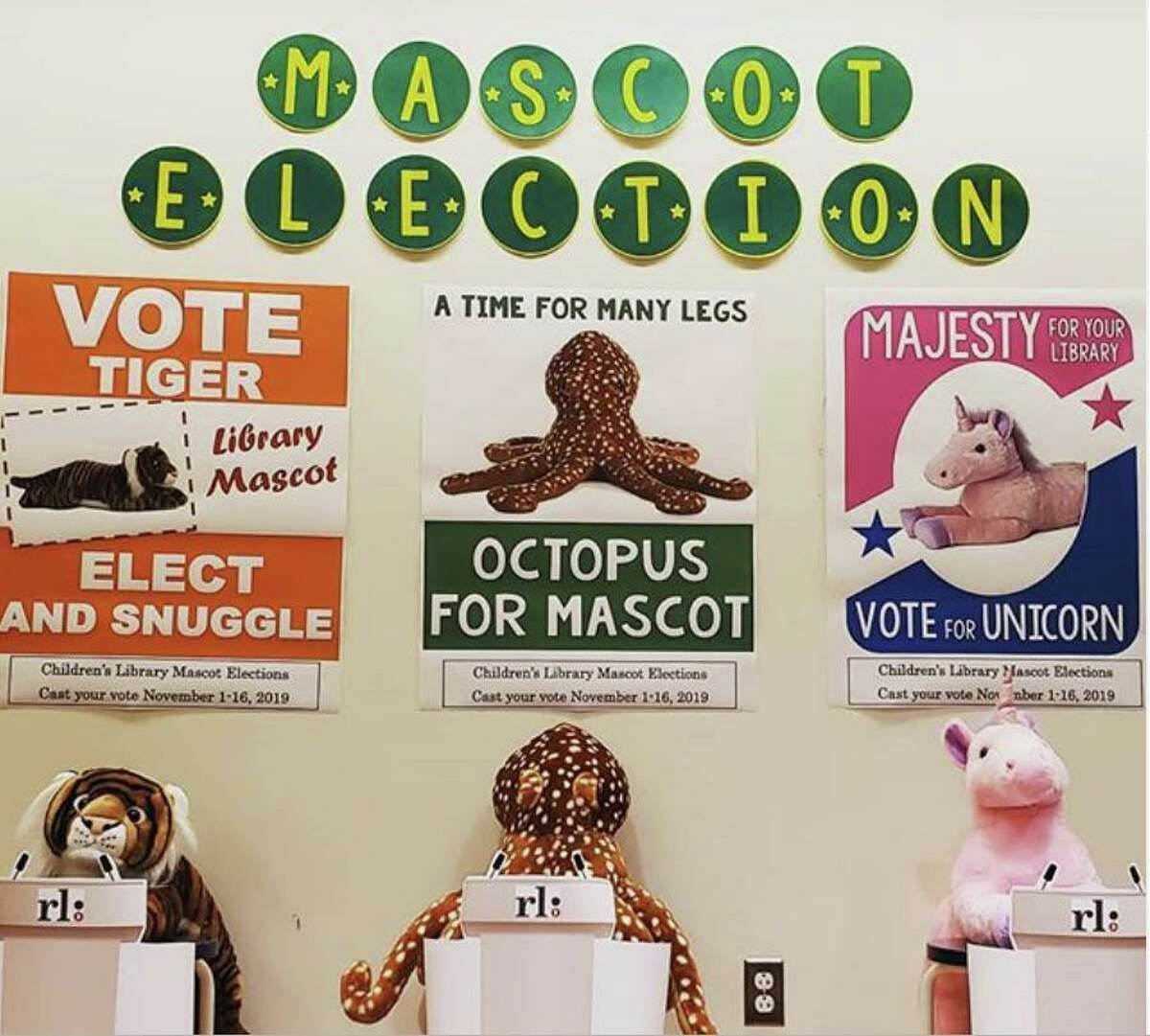 The Mascot Election at Ridgefield Library has three qualified candidates seeks voter approval.