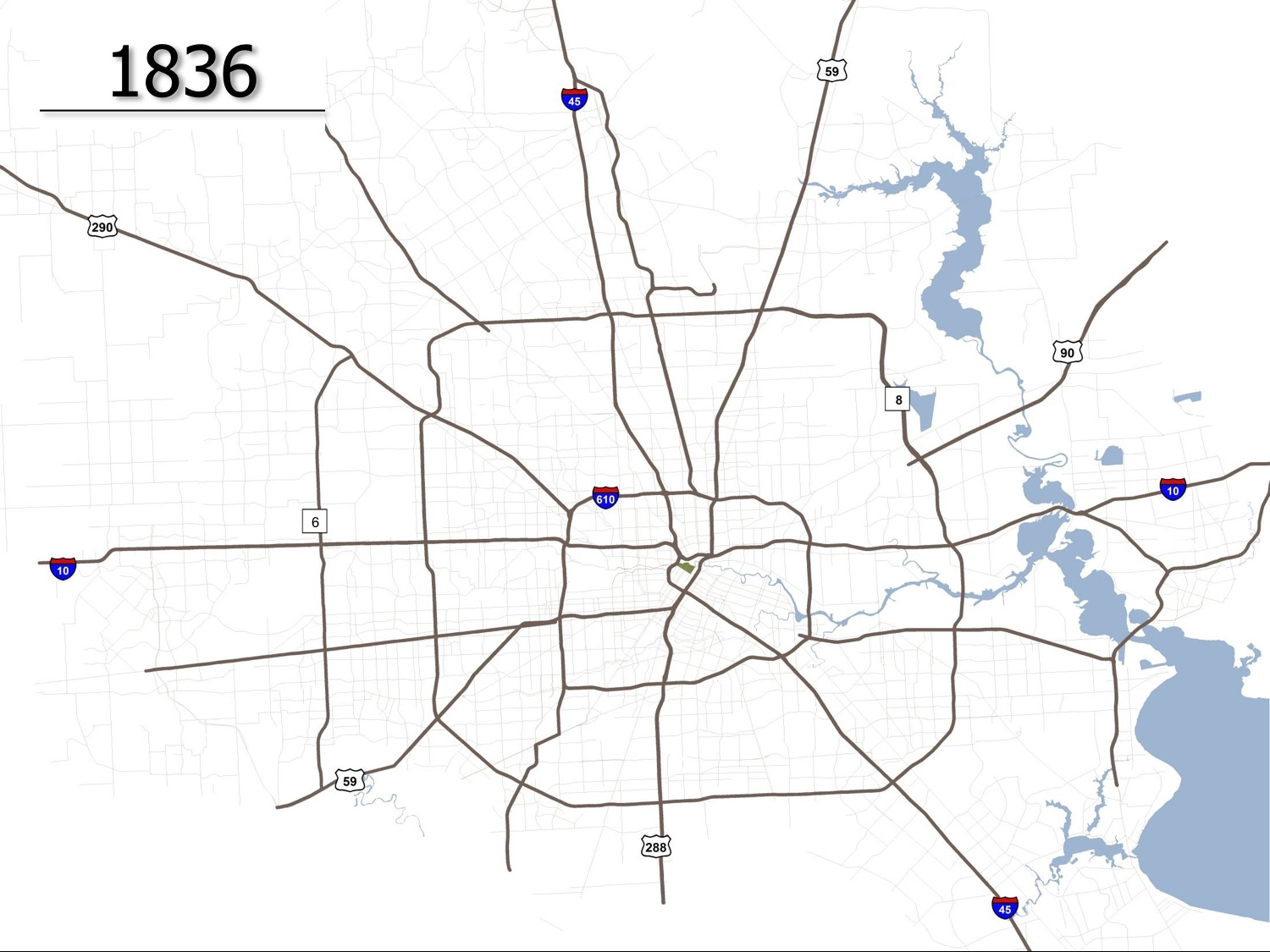 Maps show how Houston has grown since 1836