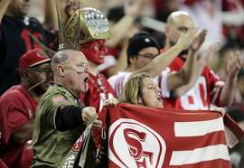 49ers fans urge the team on in the fourth qurter as the San Francisco 49ers played the Seattle Seahawks at Levi's Stadium in Santa Clara, Calif., on Monday, November 11/11/19, 2019. The Seahawks came back to win 27-24 to give the 49ers their first loss of the season