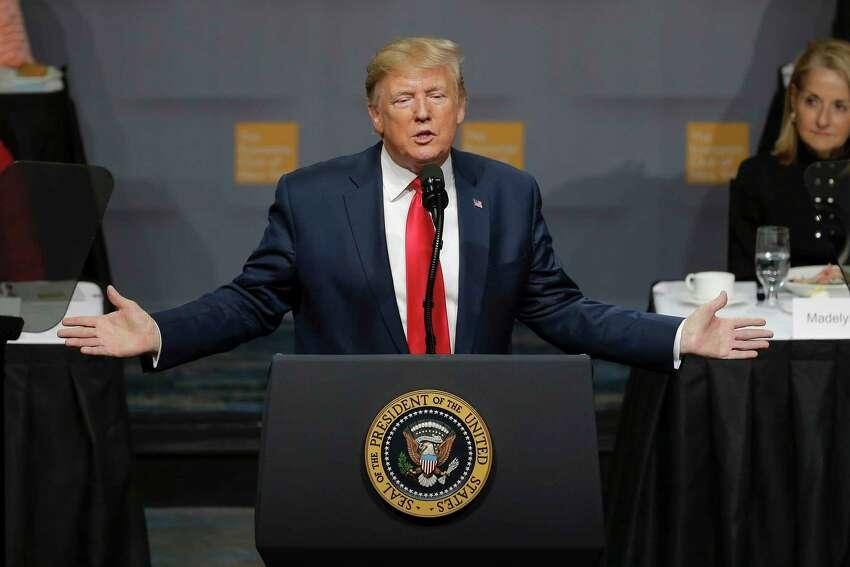 President Donald Trump addresses the Economic Club of New York Tuesday, Nov. 12, 2019, in New York.