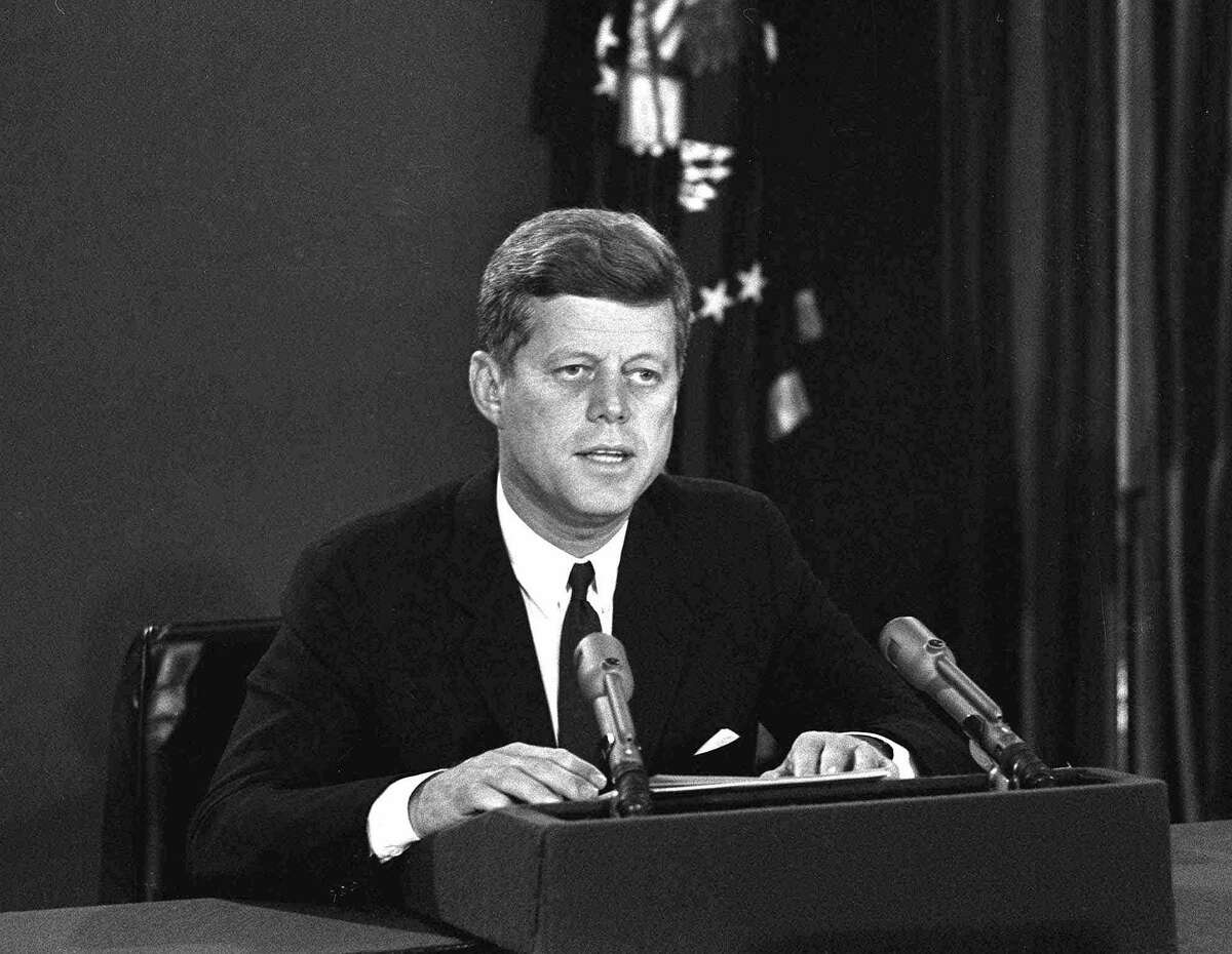 In this Oct. 22, 1962 file photo, President John F. Kennedy makes a national television speech from Washington. He announced a naval blockade of Cuba until Soviet missiles are removed.