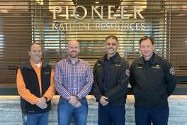 Pioneer Natural Resources recently donated boy armor to Midland Fire Marshals. Left to right are, Patrick Repman, PNR Emergency Management; John Buck, PNR Operations; Michael Cota, assistant chief of the Midland Fire Department and Jimmy Howard, fire marshal of the Midland Fire Department.
