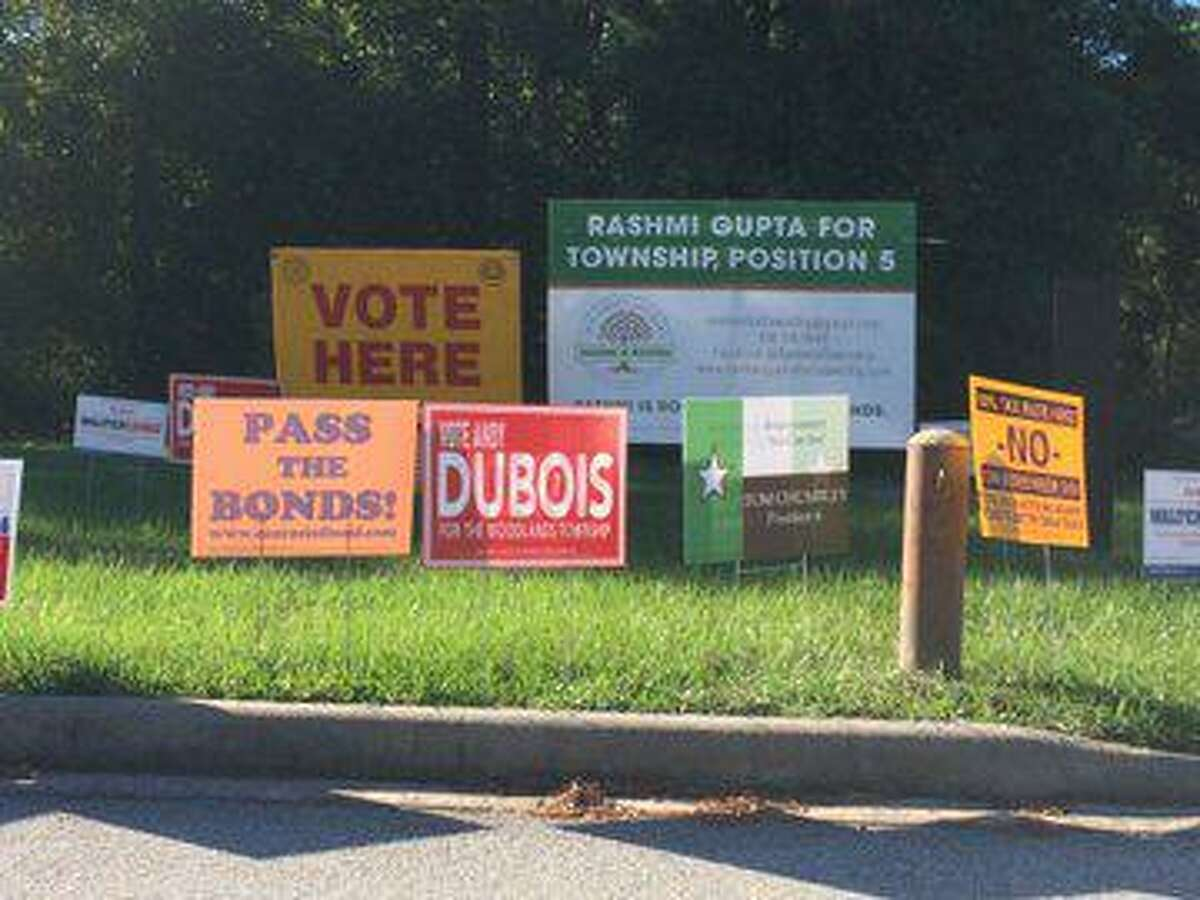 Election signs dotted the parking lot of the South County Community Center in The Woodlands during early voting, which ran from Oct. 21 through Nov. 1 for the 2019 township Board of Directors election. Some candidates said the behavior of various people at the polling location was rude and abusive, however officials with the Montgomery County Sheriff's Office said no crimes were reported and no investigations occurred.