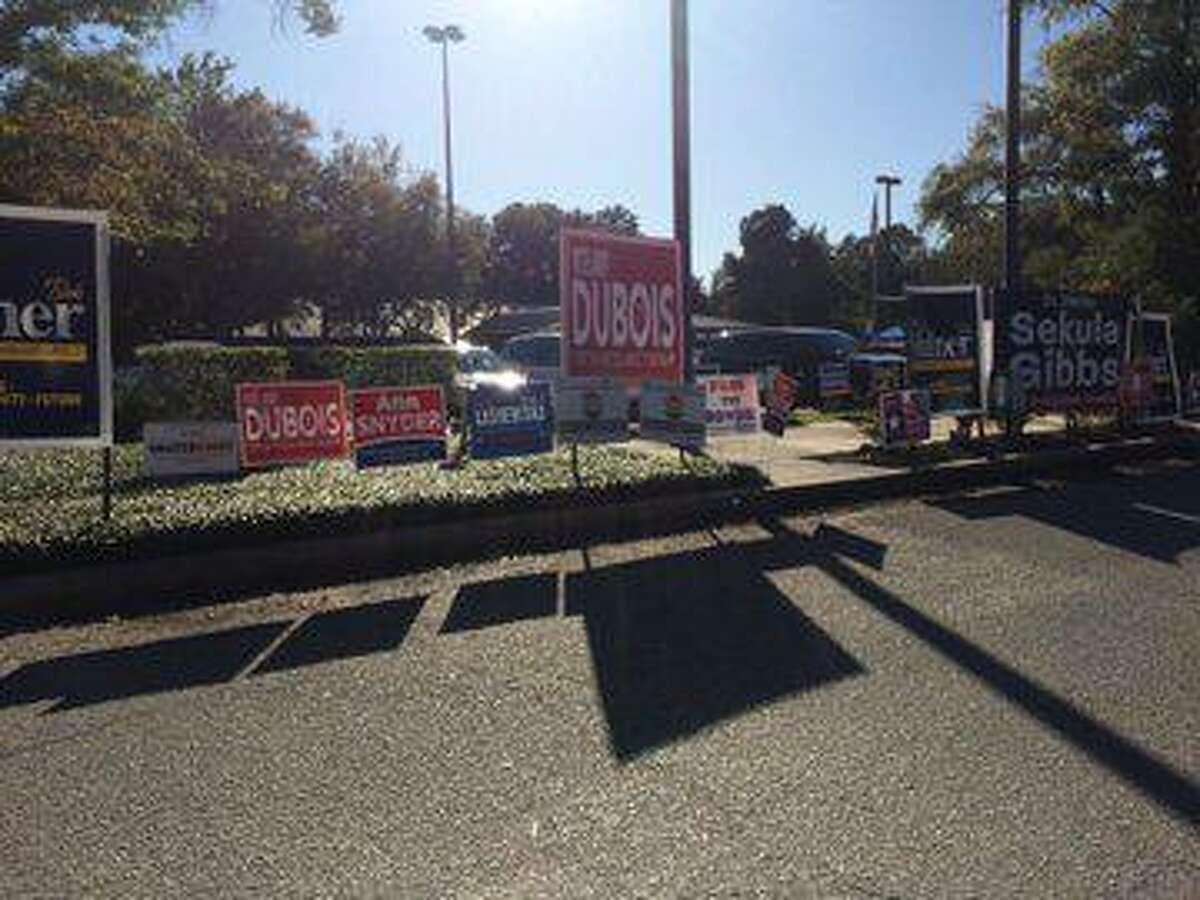 Election signs dotted the parking lot of the South County Community Center in The Woodlands during early voting, which ran from Oct. 21 through Nov. 1 for the 2019 township Board of Directors election.