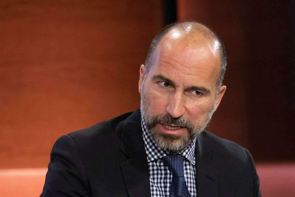 In this Sept. 25, 2019, file photo Dara Khosrowshahi, CEO of Uber, speaks at the Bloomberg Global Business Forum in New York. Khosrowshahi called the murder of Washington Post columnist Jamal Khashoggi a mistake in an interview on Axios on HBO. Khosrowshahi later said he regretted his comments.