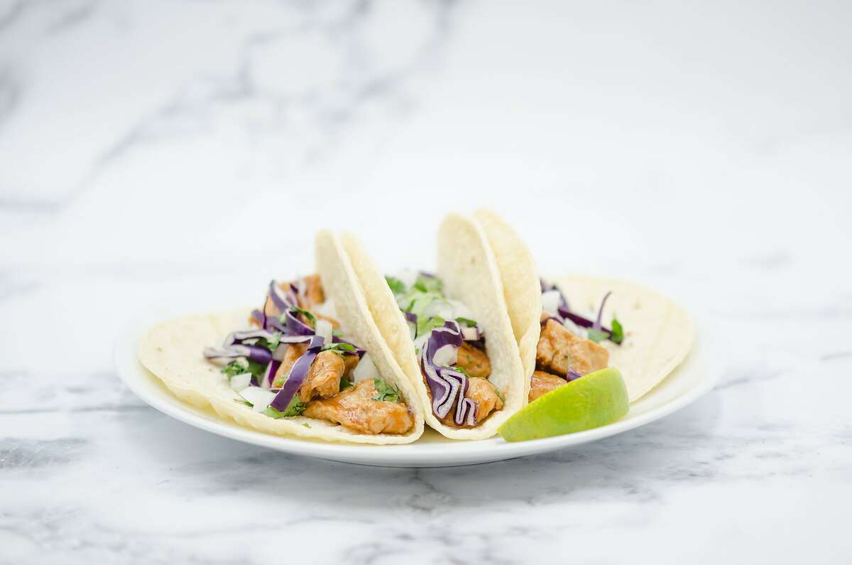 Tacos with faux chicken made from Air Protein's probiotic production process.