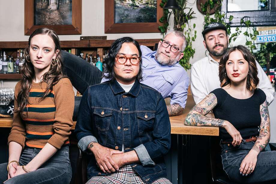 The Chronicle's 2019 Bar Stars, from left: Lauren Steele of Ramen Shop, Danny Louie of Mister Jiu's, Larry Piaskowy of Rich Table, Eric Ochoa of Elda and Megan Daniel-Hoang of Nari. Photo: Stephen Lam / Special To The Chronicle