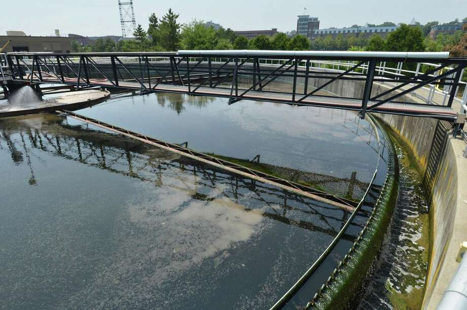One of final settling tanks the Water Pollution Control Authority plant at 60 South Smith St. in Norwalk Conn, on Monday July 16, 2018. Photo: Alex Von Kleydorff / Hearst Connecticut Media / Norwalk Hour
