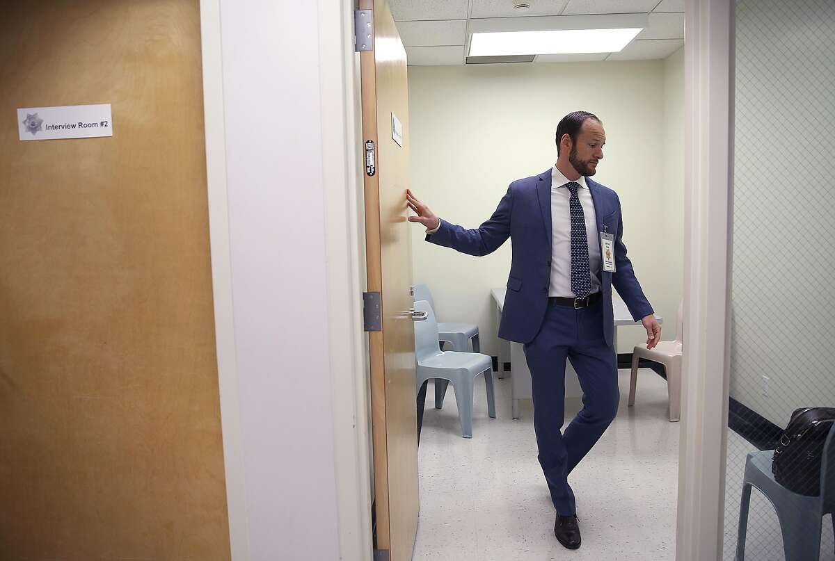 Deputy public defender Chesa Boudin at county jail #2 entering interview room #2 as he prepares for an interview as part of the public defender pretrial release unit on Monday, May 14, 2018 in San Francisco, Calif.
