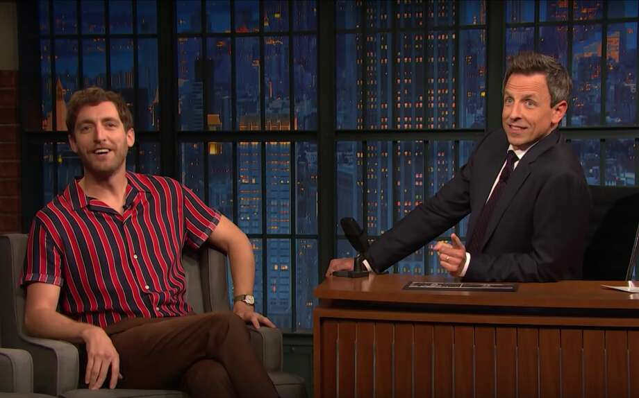 "Seth Meyers interviews ""Silicon Valley"" star Thomas Middleditch. Photo: Late Night With Seth Meyers"