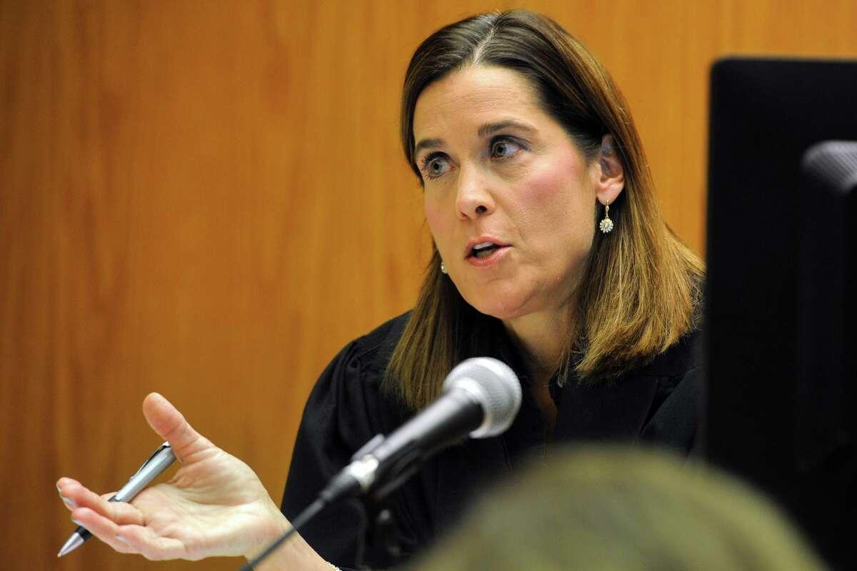 Judge Barbara Bellis speaks during final arguments of a law suit against Remington Arms in Superior Court, in Bridgeport, Conn. Feb. 22, 2016.