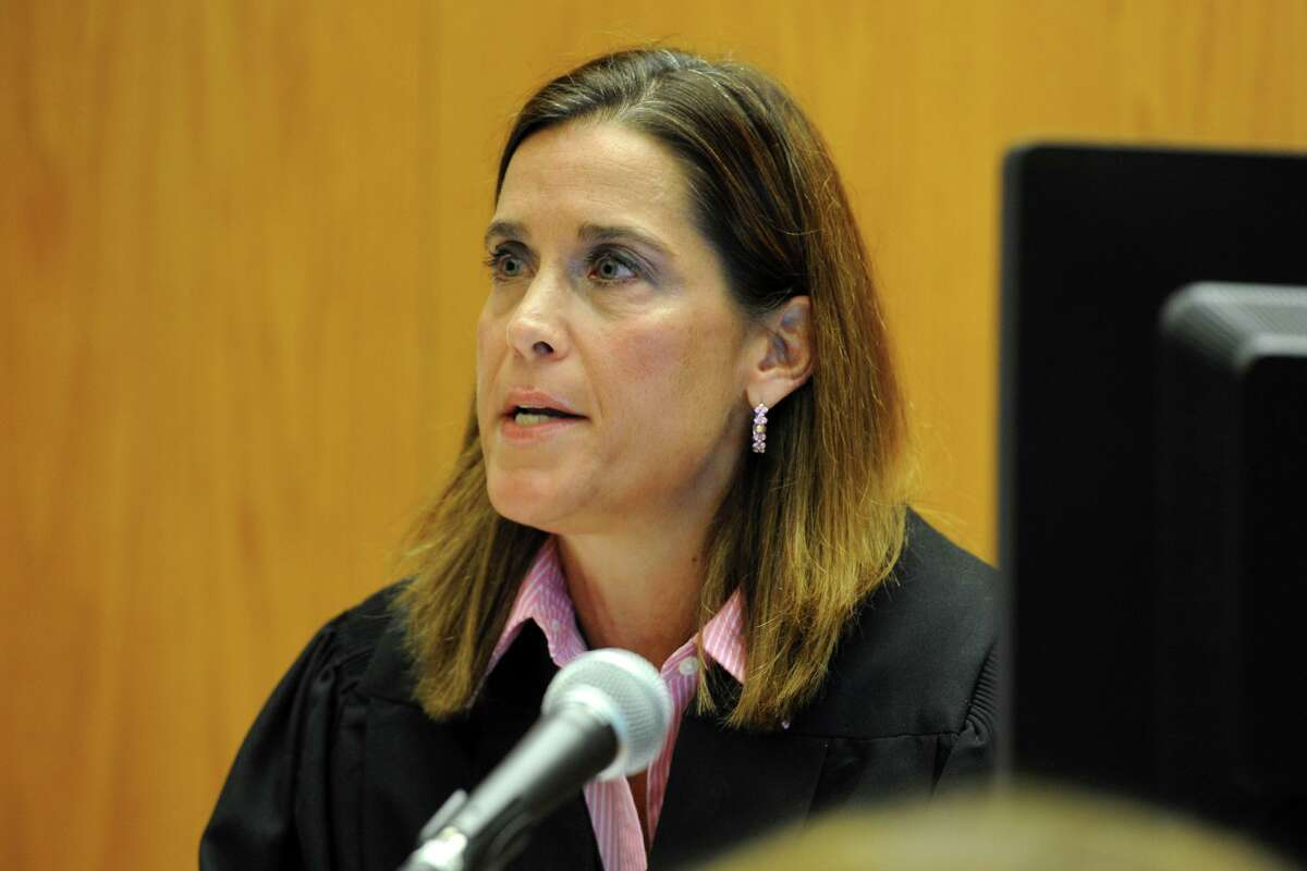 Superior Court Judge Barbara Bellis speaks during a hearing in Bridgeport, Conn., Monday, June 20, 2016. The judge heard arguments brought to dismiss a wrongful death lawsuit against a rifle maker over the Sandy Hook Elementary School massacre.