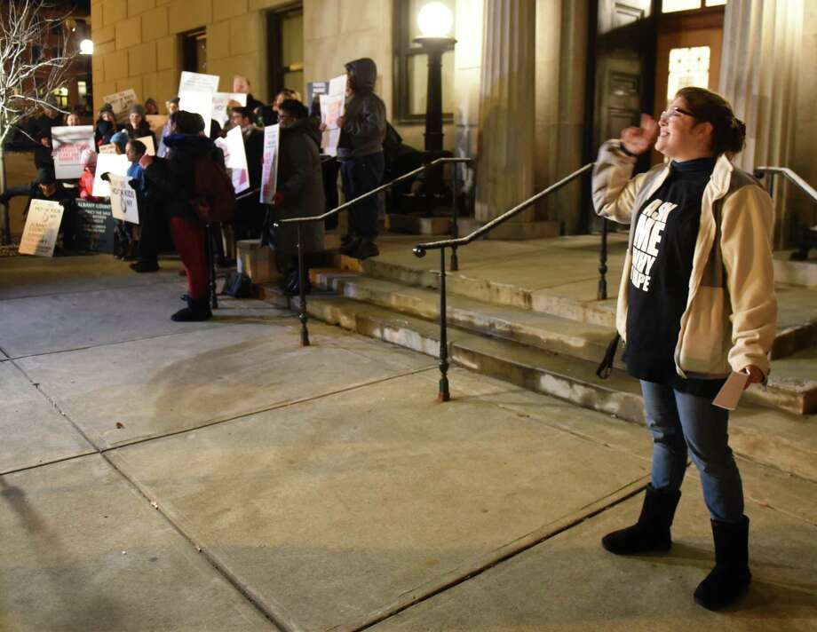 Jesica Ellis, who works for Demand Vape, a vaping product wholesaler, right, offers counterpoint to anti-vape protesters who gathered outside the Albany County Courthouse ahead of an Albany County Legislature vote on whether to ban flavored vaping and tobacco products on Tuesday, Nov. 12, 2019, in Albany, N.Y. (Will Waldron/Times Union) Photo: Will Waldron, Albany Times Union / 40048245A