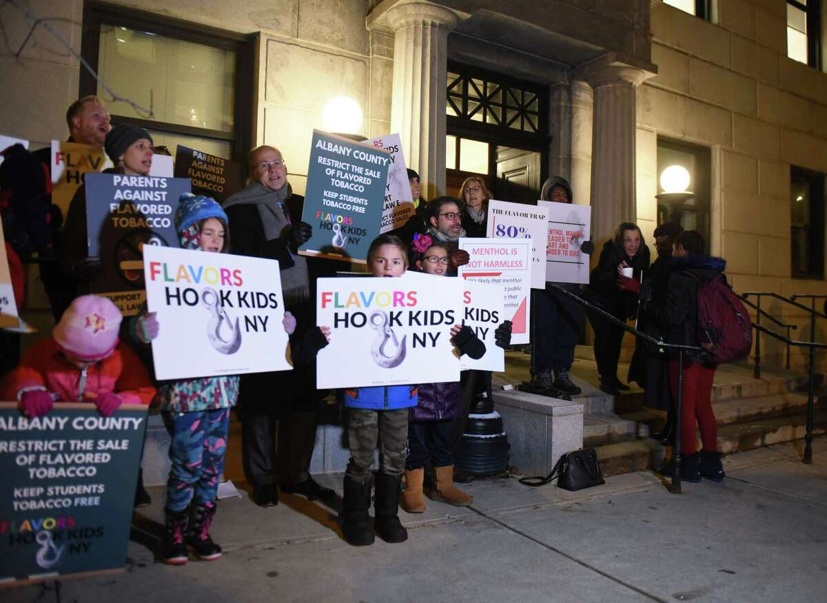 Demonstrators from health advocacy groups, and local supporters in favor of a ban on flavored vaping and tobacco products, gathered outside the Albany County Courthouse ahead of an Albany County Legislature vote on whether to ban vaping products on Tuesday, Nov. 12, 2019, in Albany, N.Y. (Will Waldron/Times Union)