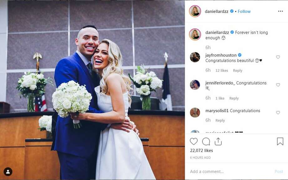 Astros shortshop Carlos Correa and former Miss Texas Daniella Rodriguez, who hails from Laredo, shared their wedding ceremony on Instagram. Photo: Instagram.com