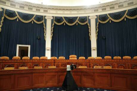 The dais in the hearing room where the House will begin public impeachment inquiry hearings  on Capitol Hill in Washington. With the bang of a gavel, House Intelligence Committee Chairman Adam Schiff will open the hearings into President Donald Trump's pressure on Ukraine to investigate Democratic rival Joe Biden's family.
