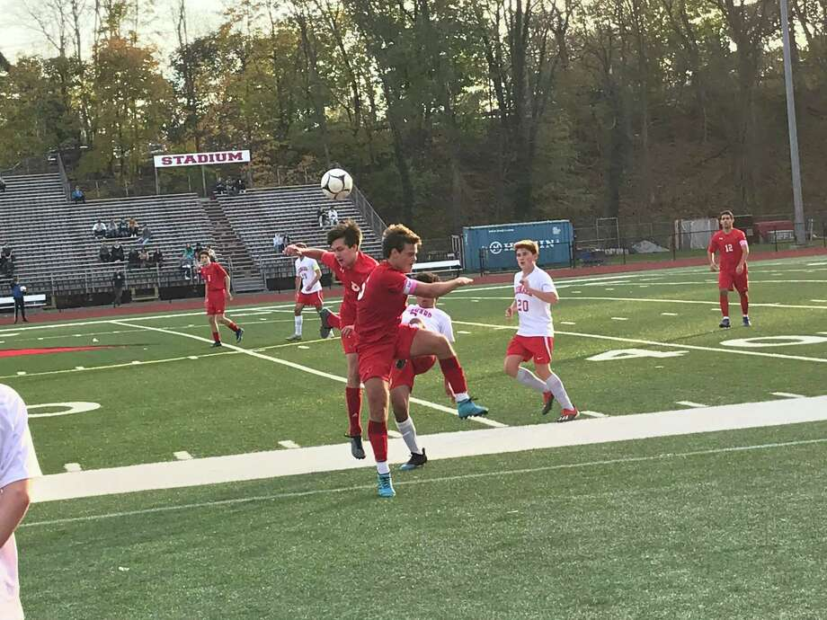 The Greenwich boys soccer team posted a 3-2 win over Conard in the opening round of the CIAC Class LL Tournament on Monday in Greenwich. Photo: David Fierro /Hearst Connecticut Media
