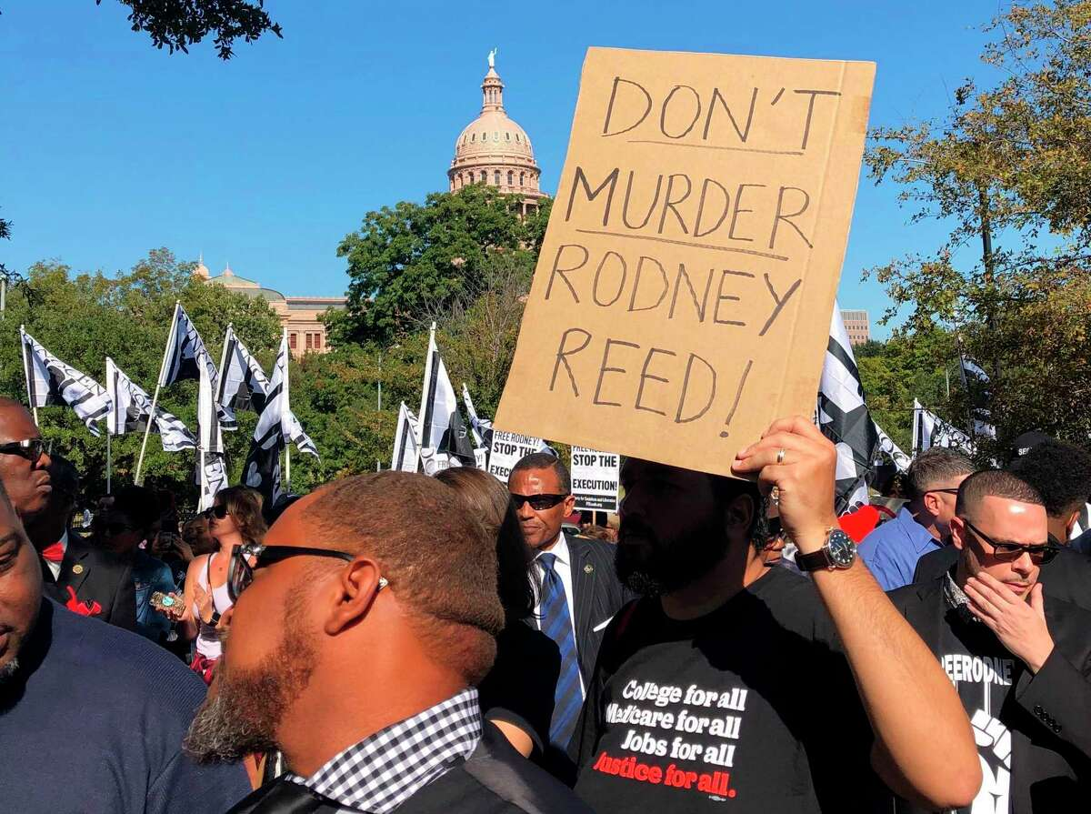 Supporters rally to stop the execution of Texas death row inmate Rodney Reed outside the governor's mansion in Austin, Texas, Saturday, Nov. 9, 2019. In his five years as Texas' governor, Republican Greg Abbott has overseen the execution of nearly 50 prisoners while only once sparing a condemned man's life, after a victims' family asked him to do so.