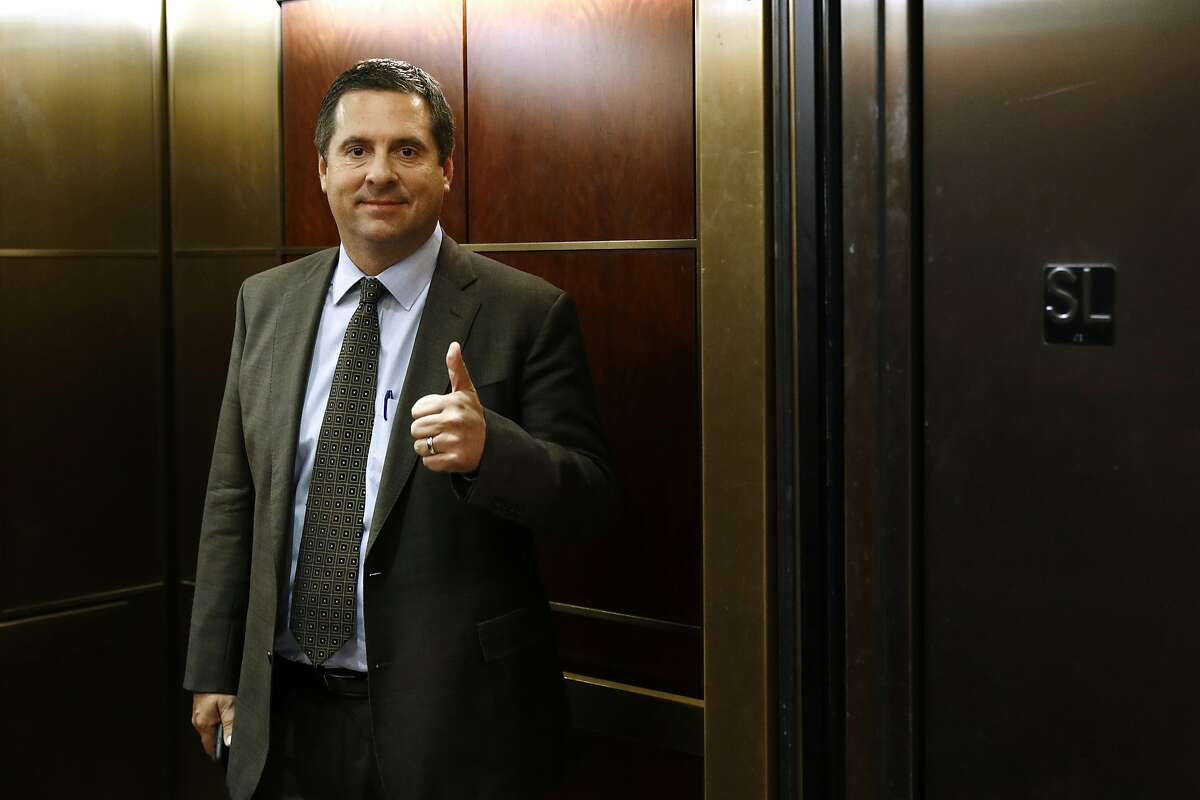 Rep. Devin Nunes, R-Calif., gestures as he stands in an elevator after departing a secure area of the Capitol as U.S. Army Lt. Col. Alexander Vindman, a military officer at the National Security Council, testifies in a closed door meeting as part of the House impeachment inquiry into President Donald Trump, Tuesday, Oct. 29, 2019, in Washington. (AP Photo/Patrick Semansky)