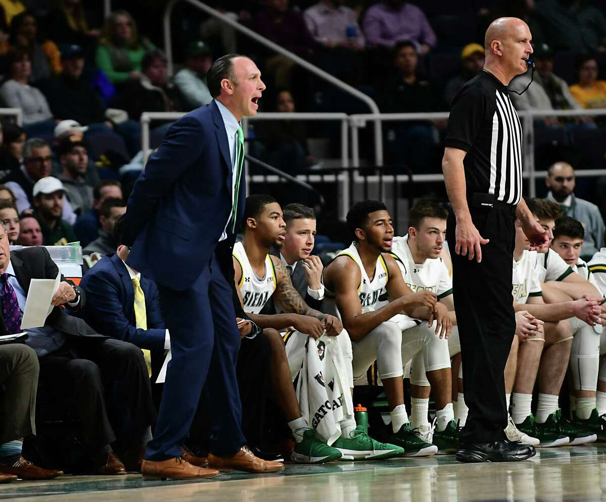 Siena's head coach Carmen Maciariello communicates to his players from the sideline during a basketball game against St. Bonaventure at the Times Union Center on Tuesday, Nov. 12, 2019 in Albany, N.Y. (Lori Van Buren/Times Union)